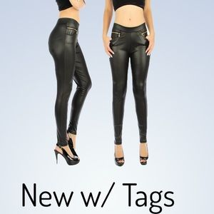 NWT Wet look pleather DIVIDEND pants stretch